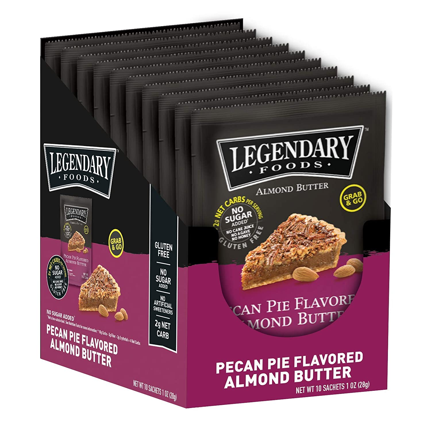 Legendary Foods Almond Butter | Keto Snacks & Fat Bombs, Low Carb, No Sugar Added, Vegan | Pecan Pie (1oz Squeeze Packets, Pack of 10)