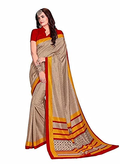 7d80a3bd0eb256 Ivory Coloured Women s Printed Art Silk Designer Saree With Blouse - Sarees  (Women s Clothing Saree For Women ...