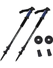 Trekking Poles Collapsible Adjustable 2pc/Set Aluminum Telescopic Hiking Pole Walking Sticks with Quick Release Lever Lock and Ergonomic Grip