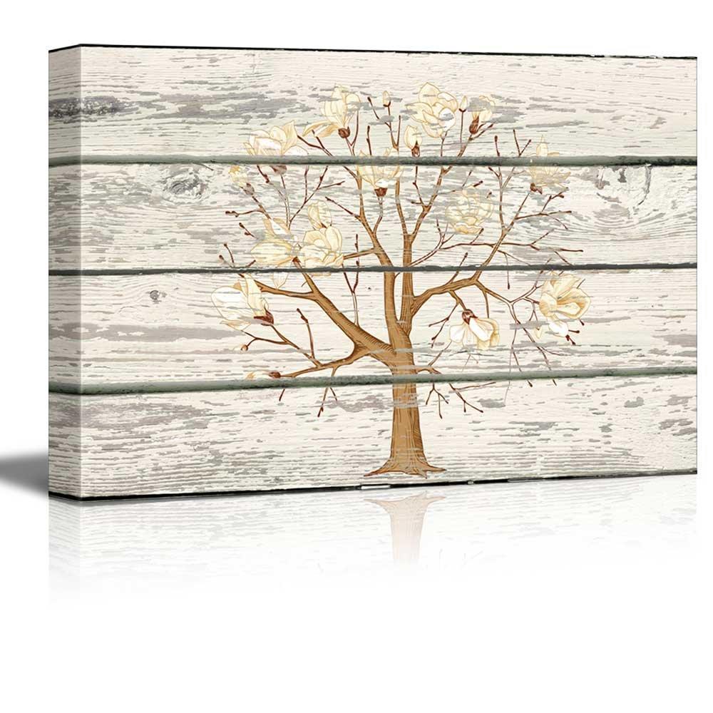 Cherry Blossom Tree Cross Hatch Artwork - Rustic Canvas Wall Art Home Art - 16x24 inches