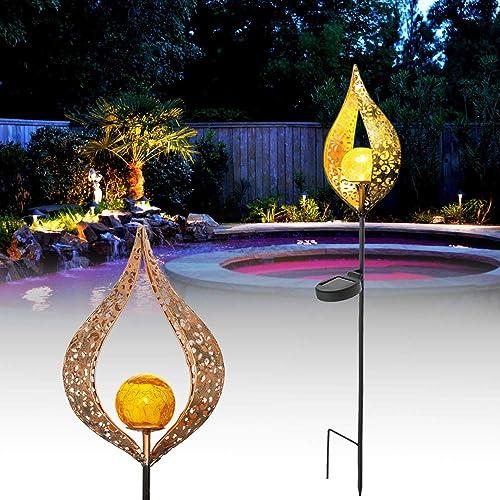 Solar Garden Lights Decor,Crackle Glass Globe Stake Lights,Waterproof LED Lights for Garden Lawn Patio Yard
