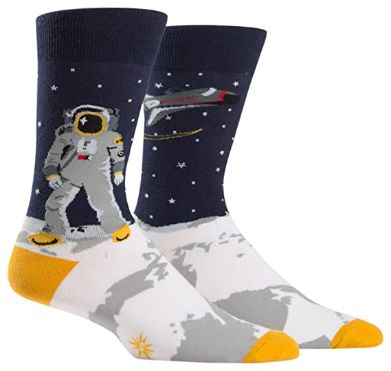 17c8a2db8 Amazon.com: Sock It to Me, One Giant Leap, Men's Crew Socks, Outer ...