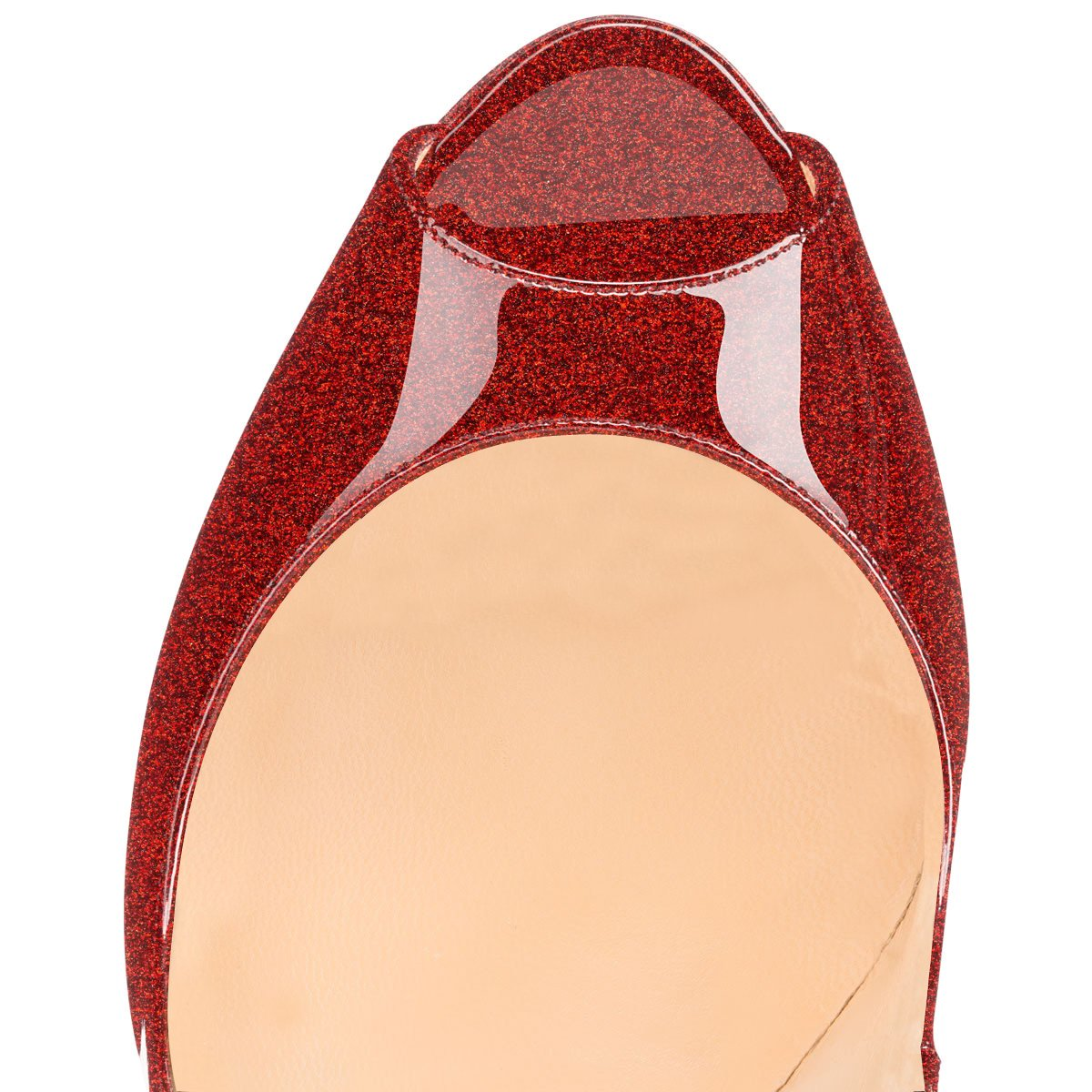 Soireelady Damen Peep Lack Toe Pumps,Stilettoabsatz High Heels,Übergröße Lack Peep Schuhe Glitter-ROT e1a4db