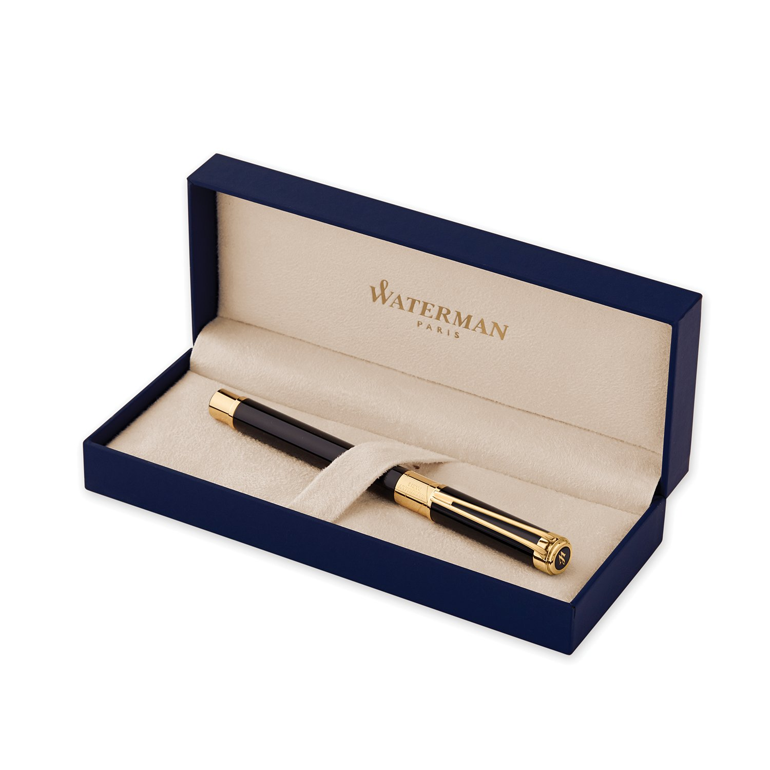 Waterman Perspective Fountain Pen, Gloss Black with 23k Gold Clip, Fine Nib with Blue Ink Cartridge, Gift Box by Waterman