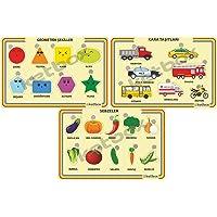Çocuk Ahşap Eğitici Öğretici Yapboz Bulmaca - Geometrik Şekiller, Kara Taşıtları, Sebzeler