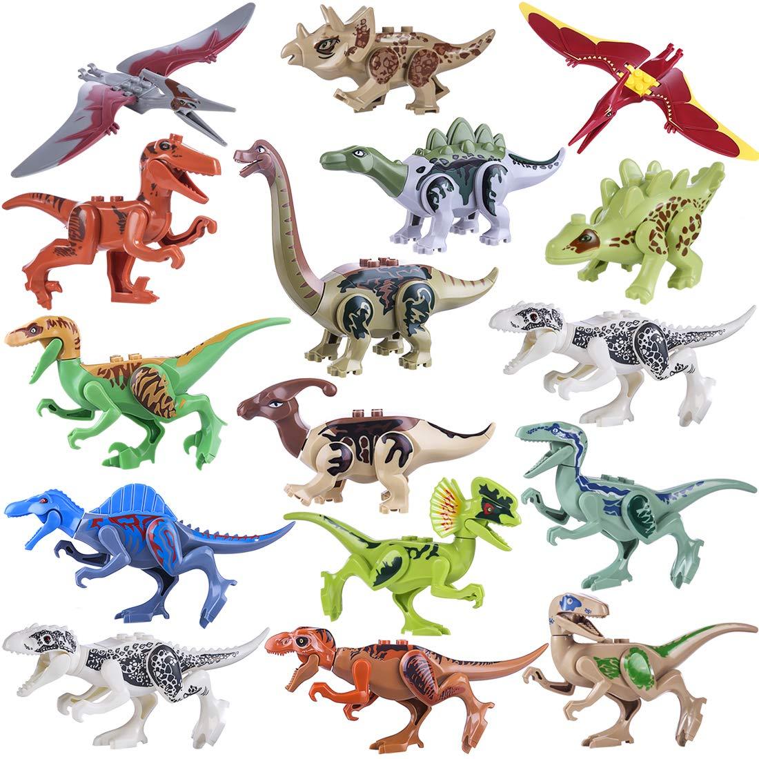 15000P 16St. 3D Puzzle Spielzeug Dinosaurier Figuren Jurassic World Bausteine Adventskalender Inhalt fü r Kinder