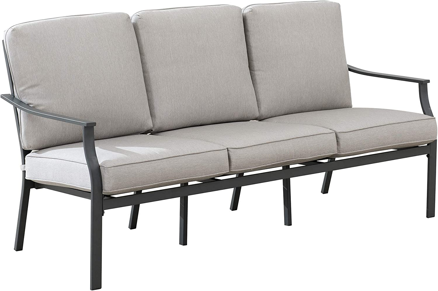Amazon Brand - Ravenna Home Archer Steel-Framed Outdoor Patio Plush 3-Seater Sofa with Removable, Water-Resistant Cushions, 68.5