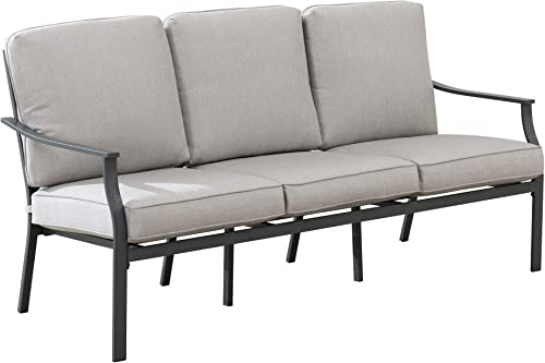 Amazon Brand – Ravenna Home Archer Steel-Framed Outdoor Patio Plush 3-Seater Sofa with Removable, Water-Resistant Cushions, 68.5 W, Gray