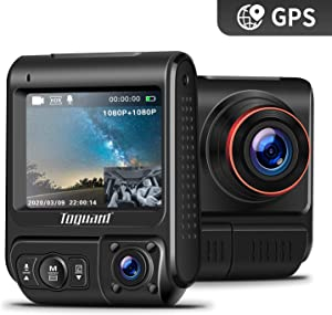 "TOGUARD Uber Dual Dash Cam Built-in GPS in Car Driving Recorder 1080P Front and 1080P Cabin Dash Camera IR Night Vision 2"" 330° Car Camera with Parking Monitor, WDR, Motion Detection for Car Taxi"