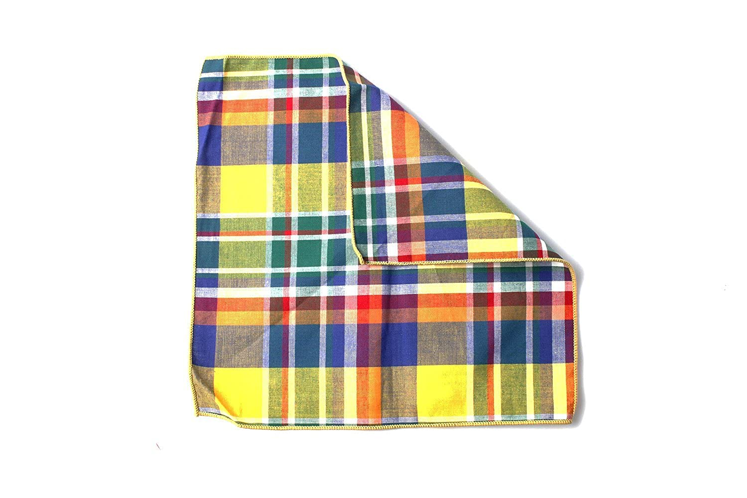 Mens Yellow and Multi-Coloured Check Print Pocket Square