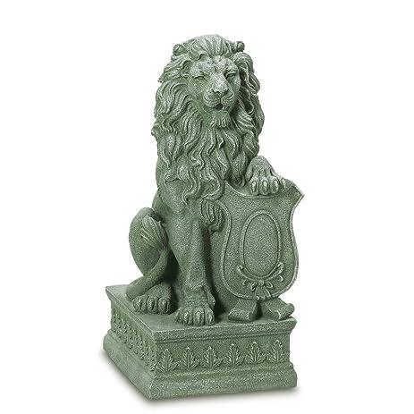 Bon Lion Statue, Faux Stone Lions Statues, Guardian Lion Garden Statue   Poly  Resin
