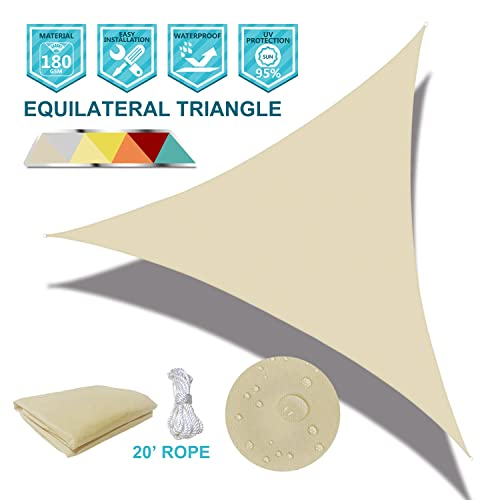 Coarbor Waterproof UV Block 6 x6 x6 Sun Shade Sail Canopy Triangle 180 GSM Polyester