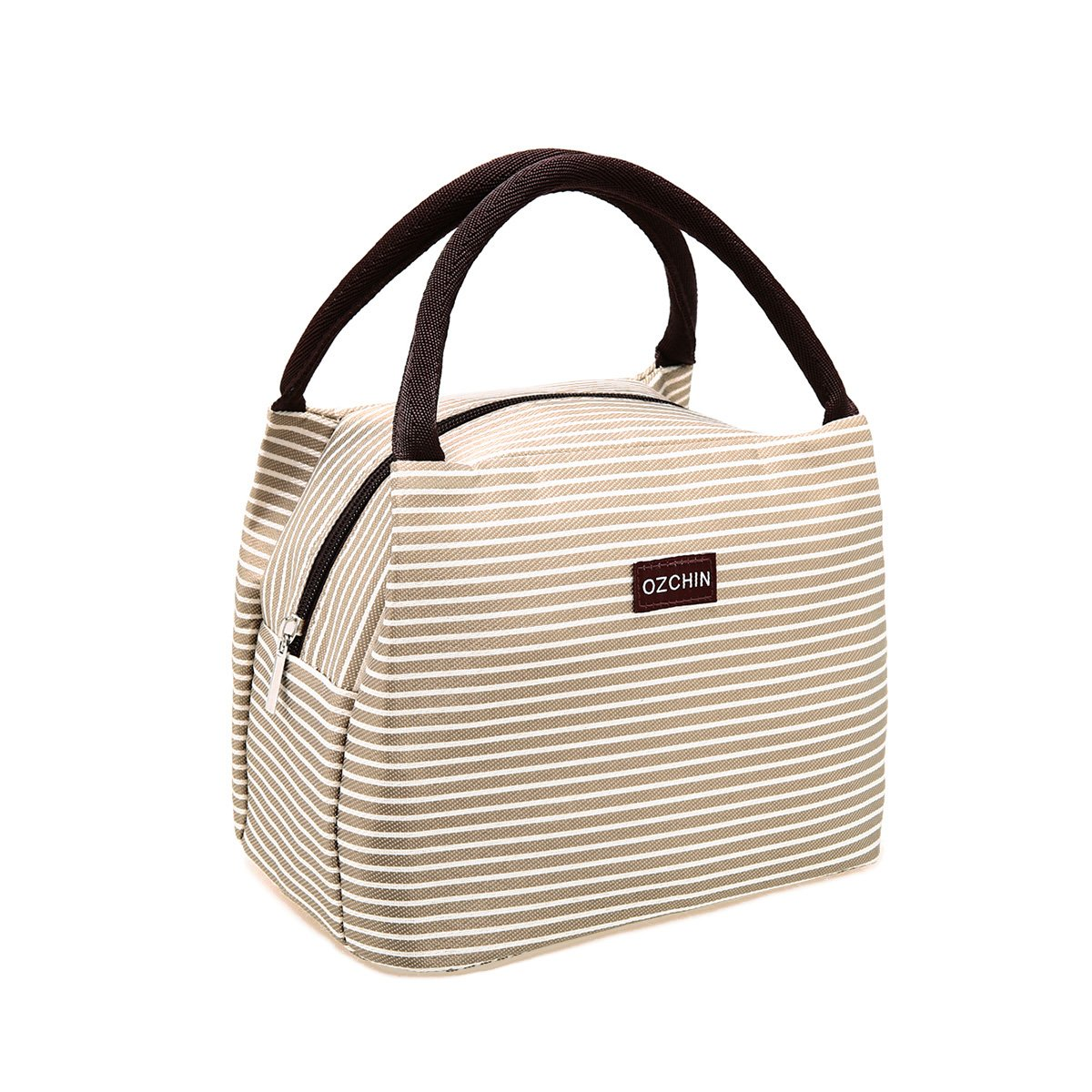 OZCHIN Insulated Lunch Bag for Women Compact Reusable Lunch Tote Cooler Bag Handbag for Adults Kids Students (Creamy Beige)