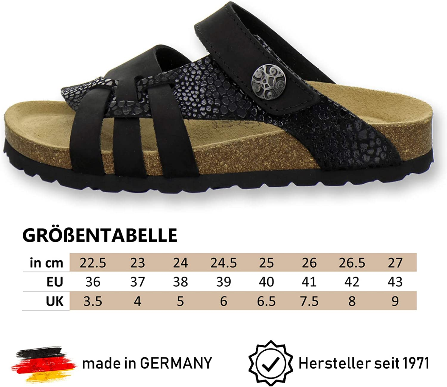 AFS Shoes 2120 Comfortable Womens Leather Mules Slippers Handmade in Germany Fashionable Sandals
