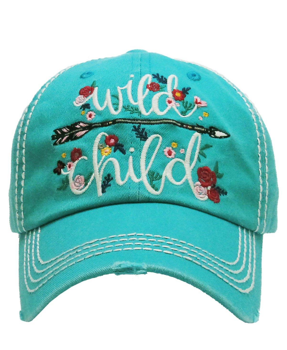 KBETHOS Vintage Collection New! Embroidered Wild Child Vintage Baseball Cap (Turquoise)