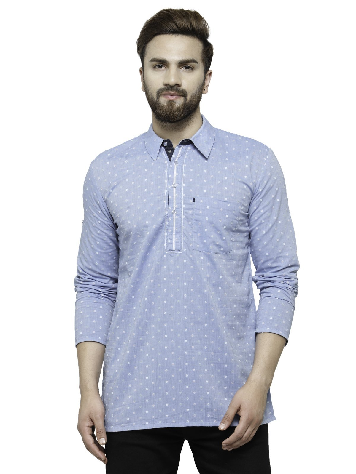 Apparel Men's Cotton Designer Short Kurta 42 Blue