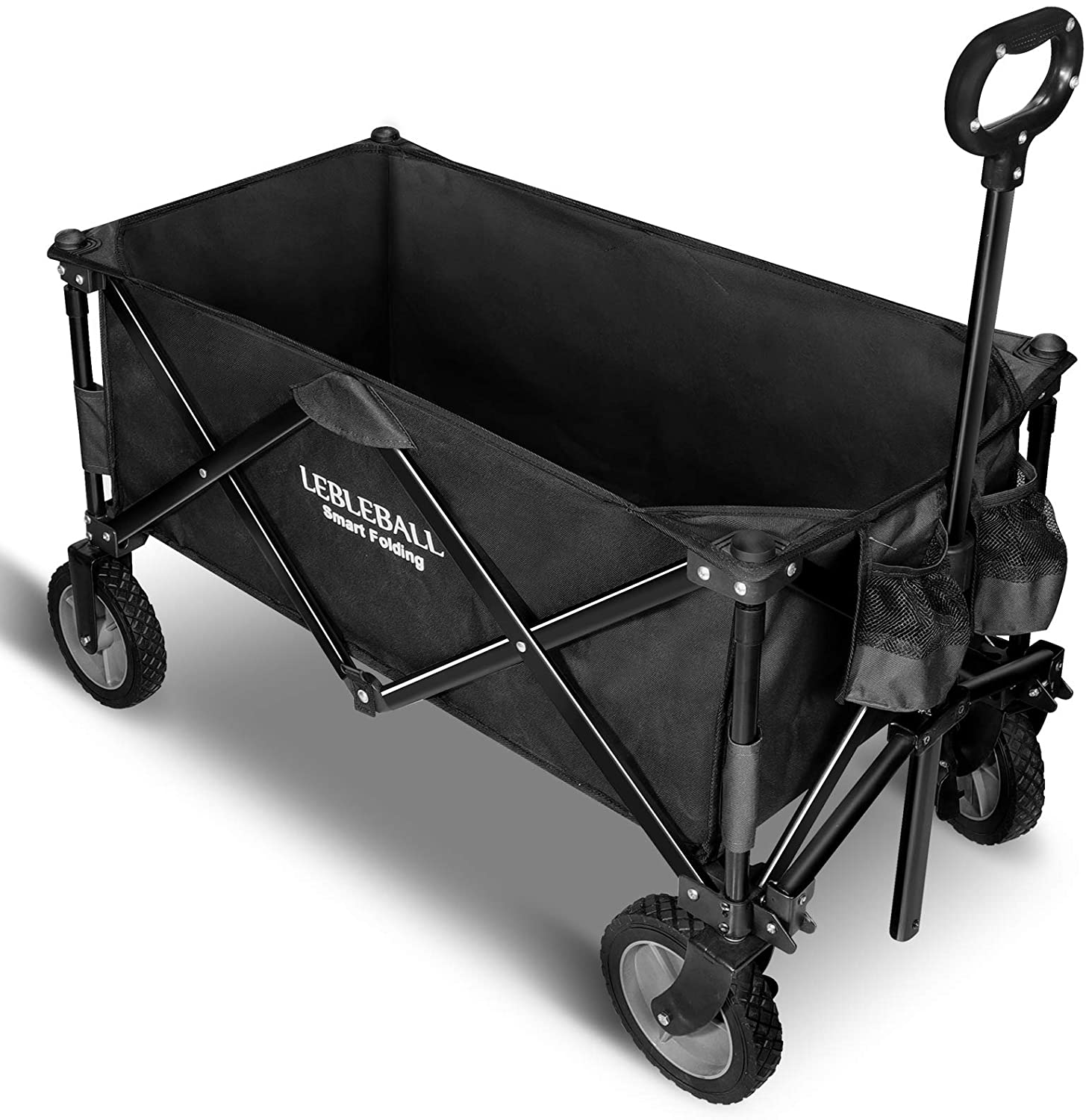 LEBLEBALL Folding Outdoor Utility Wagon Quick Set- Up Heavy Duty Garden Cart Collapsible Wagon Cart with Storage Bags Beach Wagon with Wheels Brake for Camping Garden Beach Picnic, Black