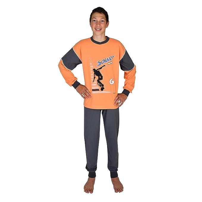 Pijamas largos para chicos 2 piezas Soccer color naranja tallas 116-176: Amazon.es: Ropa y accesorios