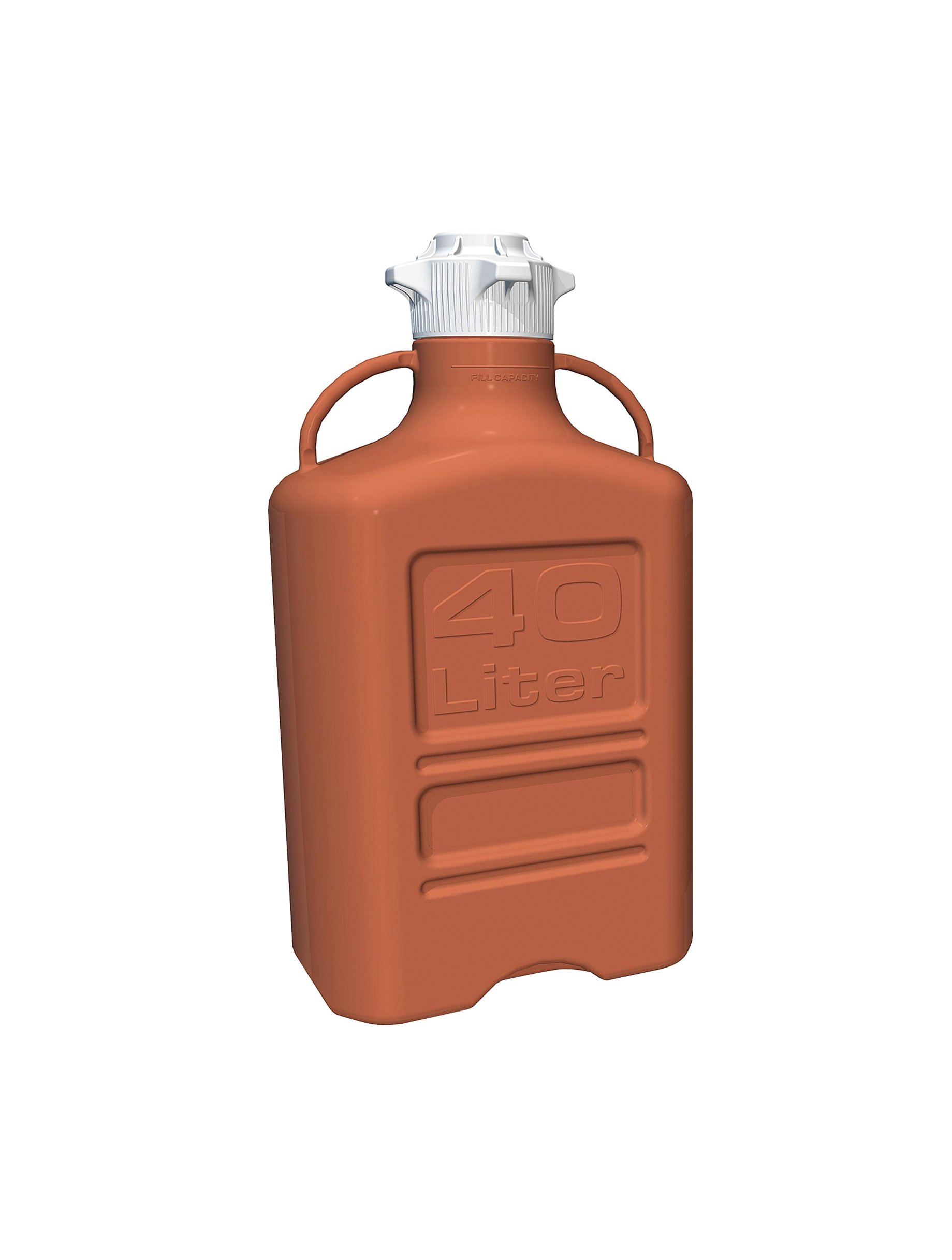 EZgrip 40L (10 Gal) Light Blocking Amber HDPE Space Saving Carboy with Wide Mouth 120mm VersaCap and 50L Max Capacity