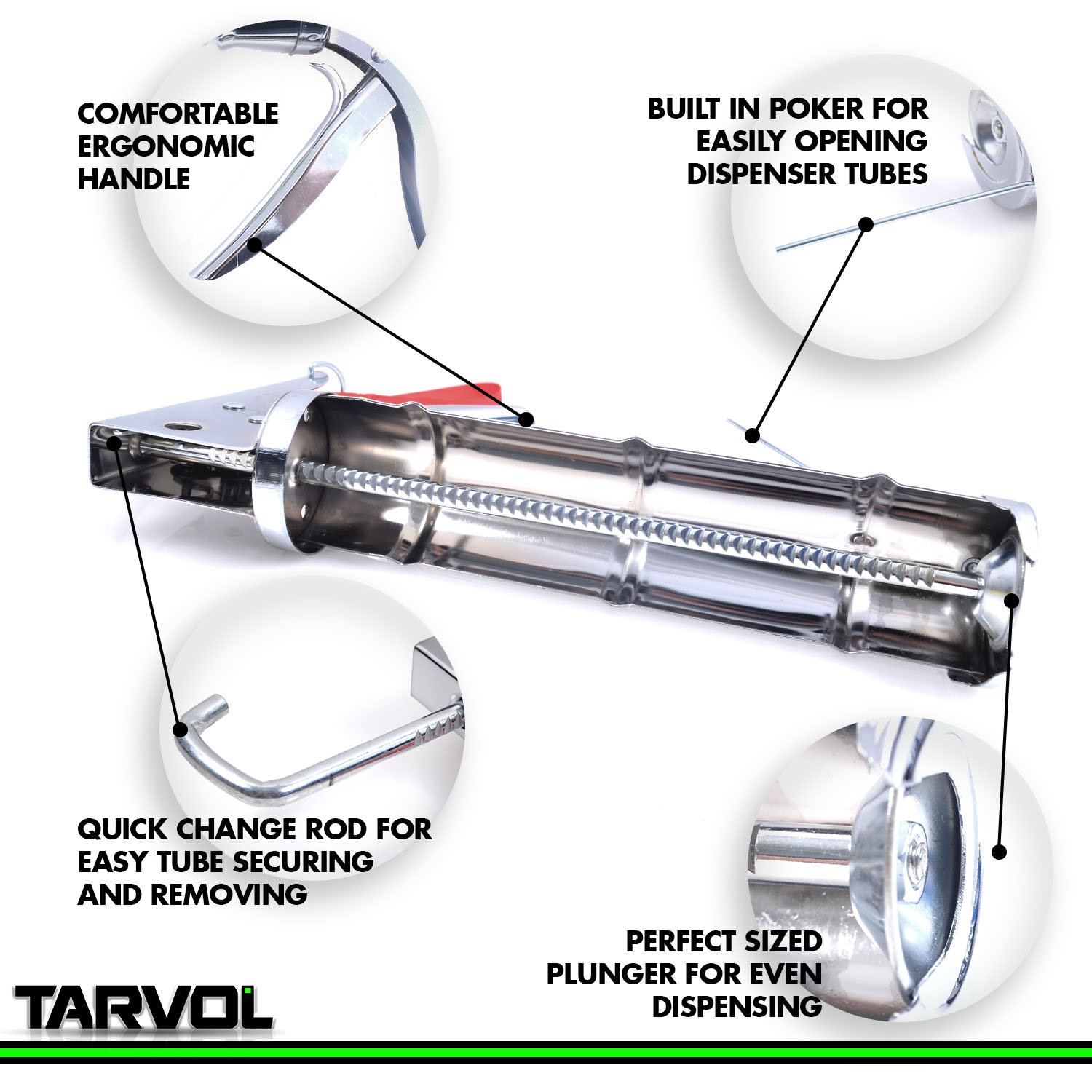 3 in 1 Caulking Gun (HEAVY DUTY CHROME PLATED) Fits Standard Size 10oz Caulk - Refillable 3 in 1 Design Includes Built in Cutter and Puncher Tool - Perfect for Industrial & Home Use! by Tarvol (Image #3)