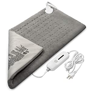 """AISIKER Heating Pad for Neck, Shoulder, Back Pain Relief, Ultra Soft Fast-Heating Washable Large Size Electric Heated Pad Therapy Wrap for Muscle Cramps with Auto Shut Off - 12"""" x 24"""" (Gray)"""