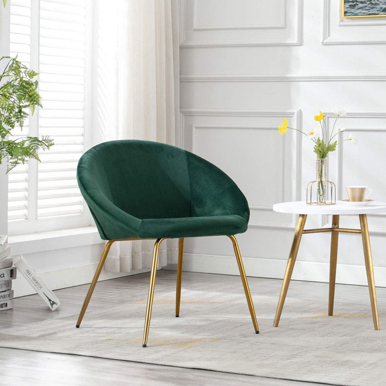Modern Velvet Living Room Chair, Accent Chair with Metal Legs, Shell  Upholstered Vanity Chair for Living Room Kitchen Bedroom (Dark Green)