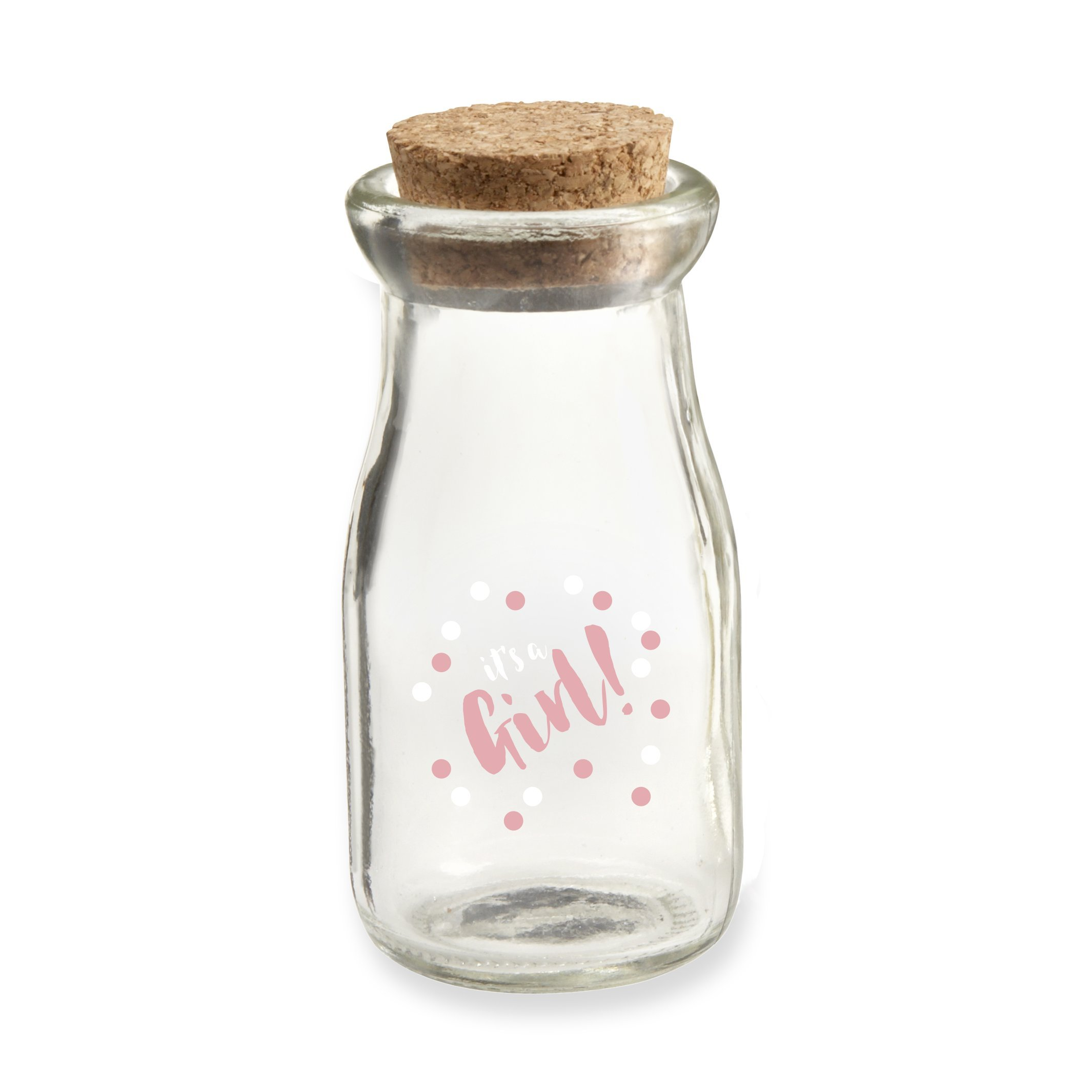 Kate Aspen GRL2 It's a Girl Milk Jar (Set of 12) Favor, Clear