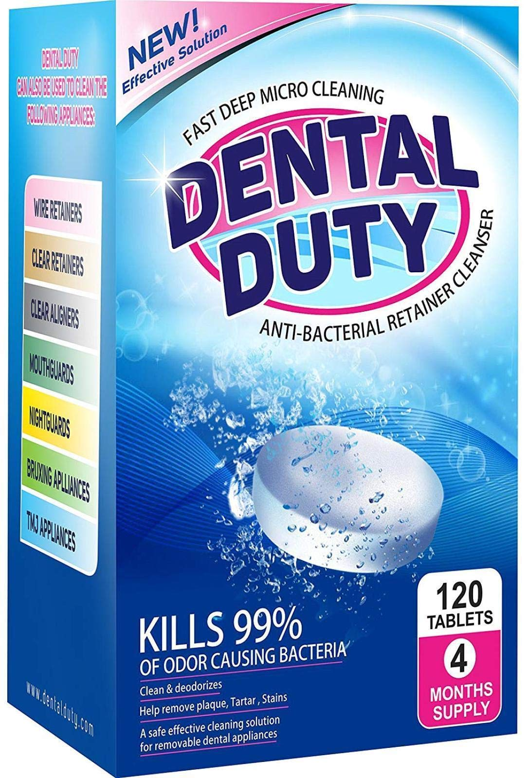 120 Retainer and Denture Cleaning Tablets -(4 Months Supply)- Cleaner Removes Bad Odor, Plaque, Stains from Dentures, Retainers, Night Guards, Mouth Guards & Removable Dental Appliances. Made in USA