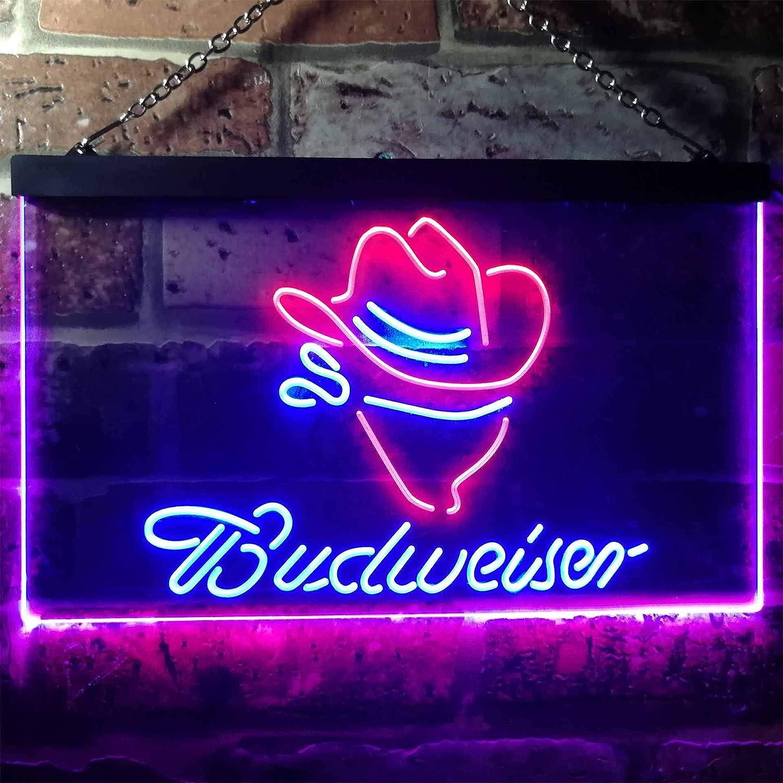 zusme Budweiser Cowboy Novelty LED Neon Sign Blue Red W30cm x H20cm
