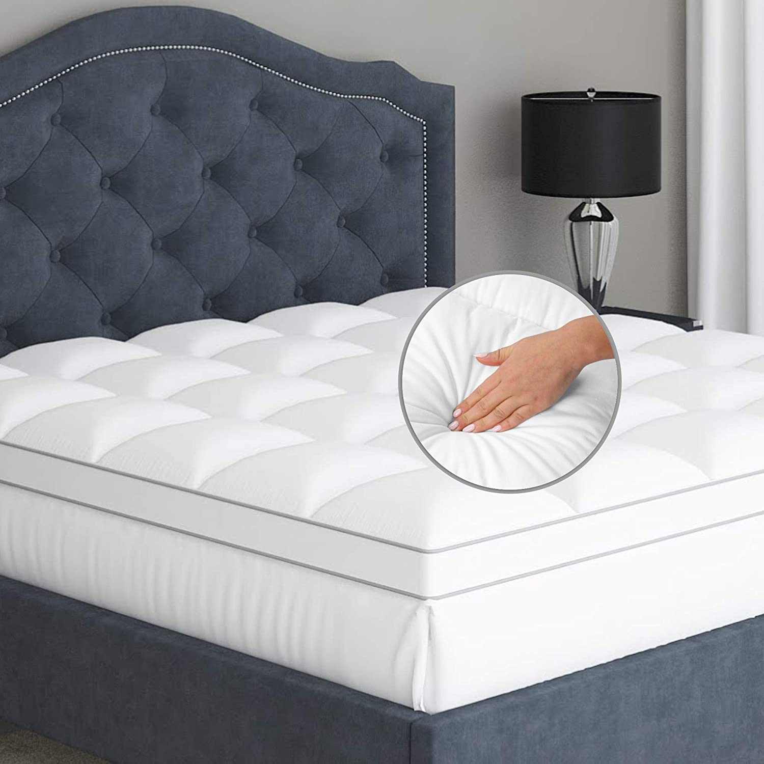 Twin Mattress Topper Pillow Top - Soft 100% Cotton Top Premium Mattress Pad, Optimum Thickness with Down Alternative Fill, Deep Pocket Fitted Skirt for Mattress 16 Inches: Furniture & Decor
