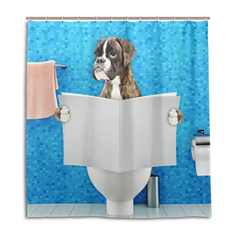 Chen Miranda Waterproof Shower Curtain For Everday Use Boxer Dog Bathroom Set Polyester Fabric