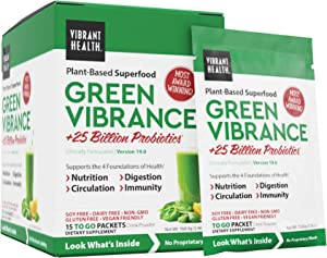 Vibrant Health, Green Vibrance, Plant-Based Superfood to Support Immunity, Digestion, and Energy with Over 70 Ingredients, 25 Billion Probiotics (15 Servings)