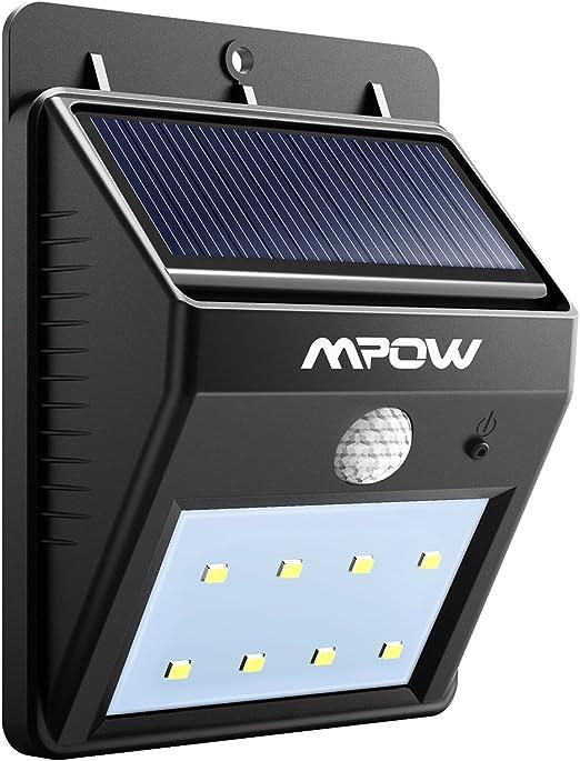 Mpow, Lámpara Solar 8 LED, de Pared, Impermeable con Sensor de Movimiento, Luz Solar al Aire Libre, Foco LED Exterior para Casa, Camino, Escaleras: Amazon.es: Iluminación