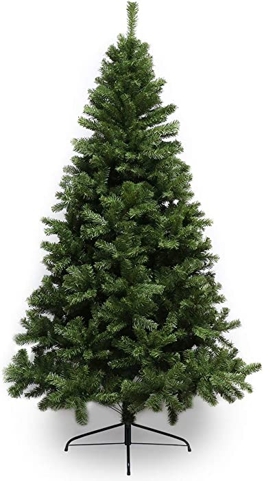 Super Holiday 6ft Artificial Christmas Tree with 928 Branch Tips, Unlit Premium Hinged Spruce Xmas Tree with Solid Metal Stand, Unlit Christmas Tree for Home, Office, Shops, and Hotels (6ft/Green)