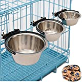 Emours Stainless Steel Pet Water Food Bowl Hanging Cage Bowl Coop Cup Dish Feeder with Wash Towel