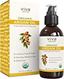 Viva Naturals Organic Argan Oil 4 oz- 100% Pure Moroccan and Cold-Pressed, Great for Hair, Face & Skin