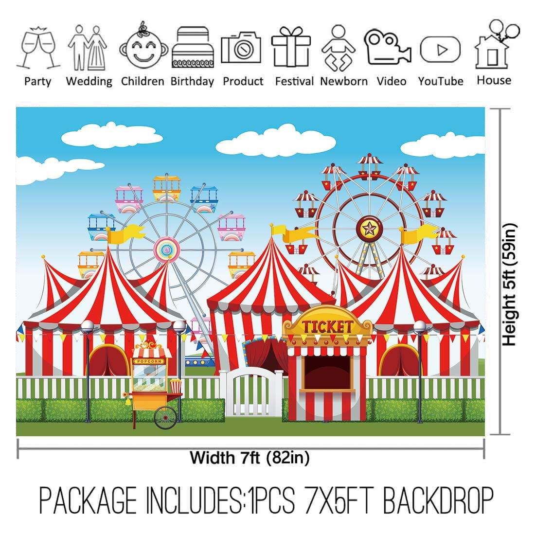 Allenjoy 7x5ft Red Circus Backdrop Amusement Park Tents Stratus Playground Carnival Carousel Kids Boy Girl 1st First one Birthday Party Banner Background Photo Booth Baby Shower