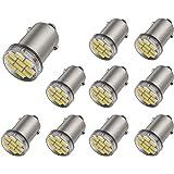 Aucan 12V 10PCS BA9 BA9S 53 57 1895 64111 10SMD 3014 Led Bulbs Used for Instrument Cluster, Door Courtesy, License Plate Lights, Xenon White
