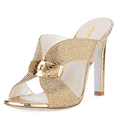 96def22b6 Amazon.com | XYD Women Open Toe Thick High Heels Mules Slide Sandals Cross  Strap Cut Out Slip On Rhinestone Slippers with Buckle | Shoes