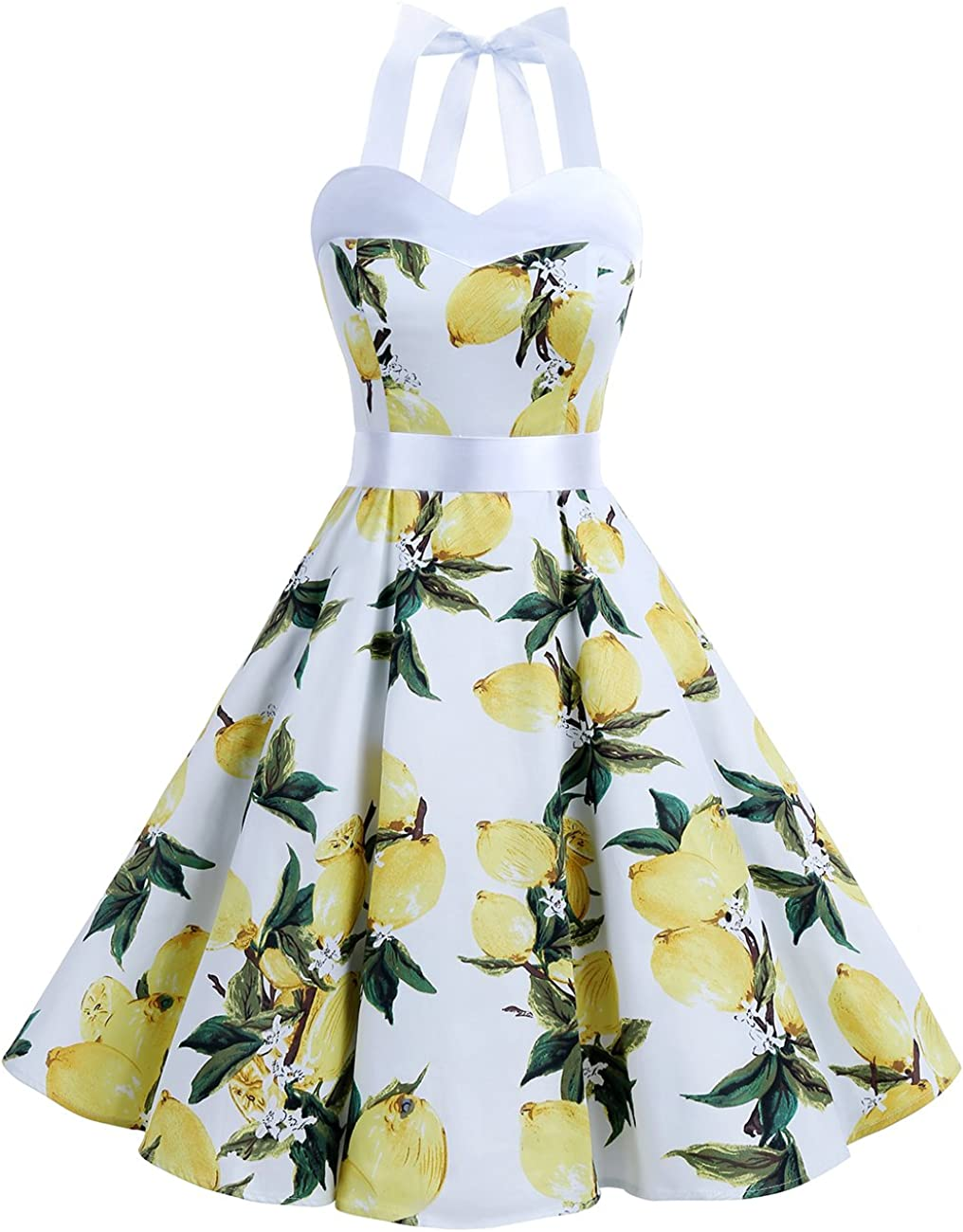 TALLA XS. Dresstells® Halter 50s Rockabilly Polka Dots Audrey Dress Retro Cocktail Dress Lemon XS