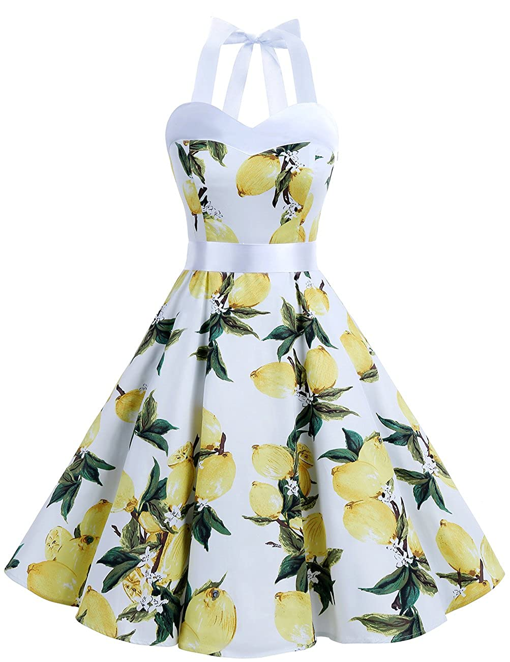 TALLA M. Dresstells® Halter 50s Rockabilly Polka Dots Audrey Dress Retro Cocktail Dress Lemon M