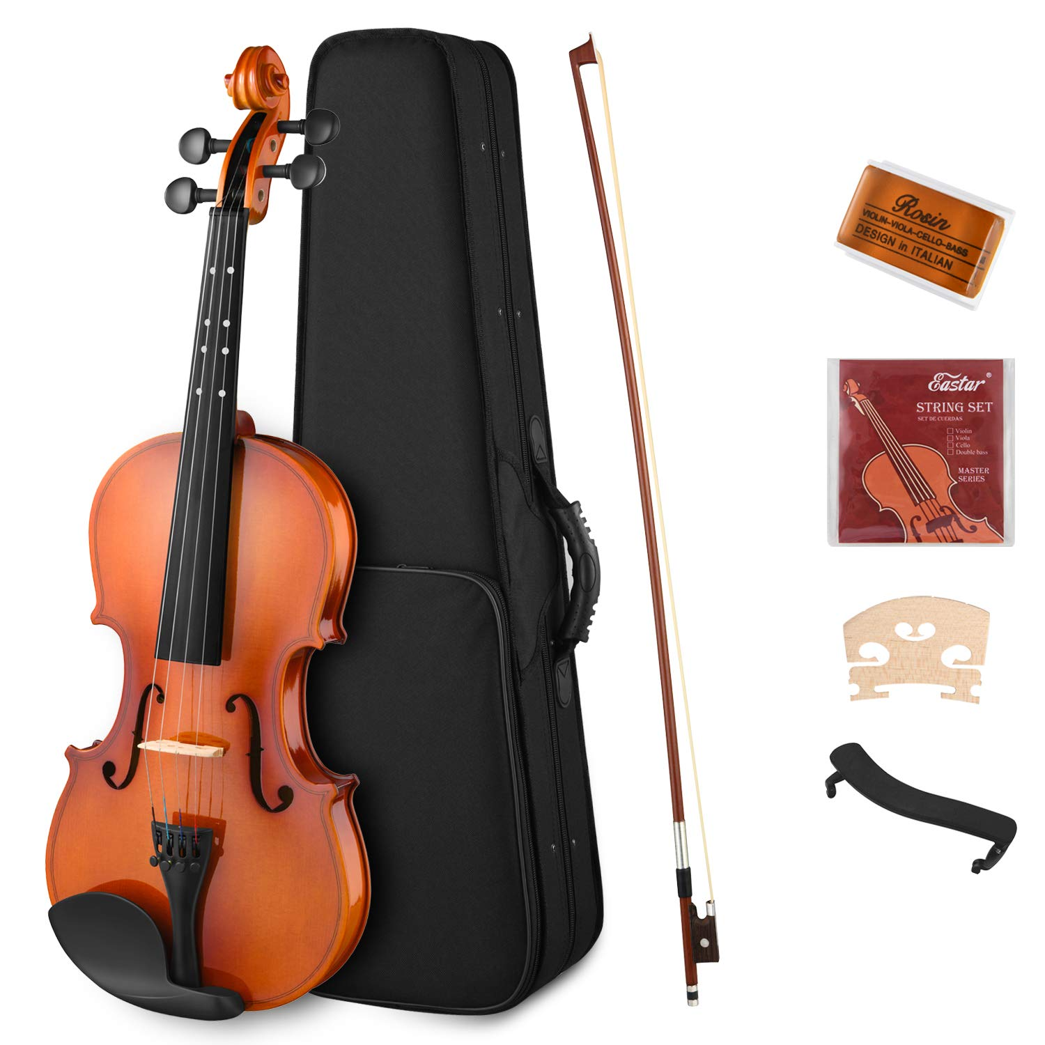Eastar EVA-2 4/4 Violin Set (Imprinted Finger Guide on Fingerboard) Full Size Fiddle for Students Beginners Kids with Hard Case, Rosin, Shoulder Rest, Bow, and Extra Strings by Eastar