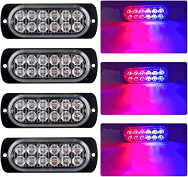 4Pcs 12LED Emergency Hazard Warning Beacon Strobe Flash Light Bar Blue