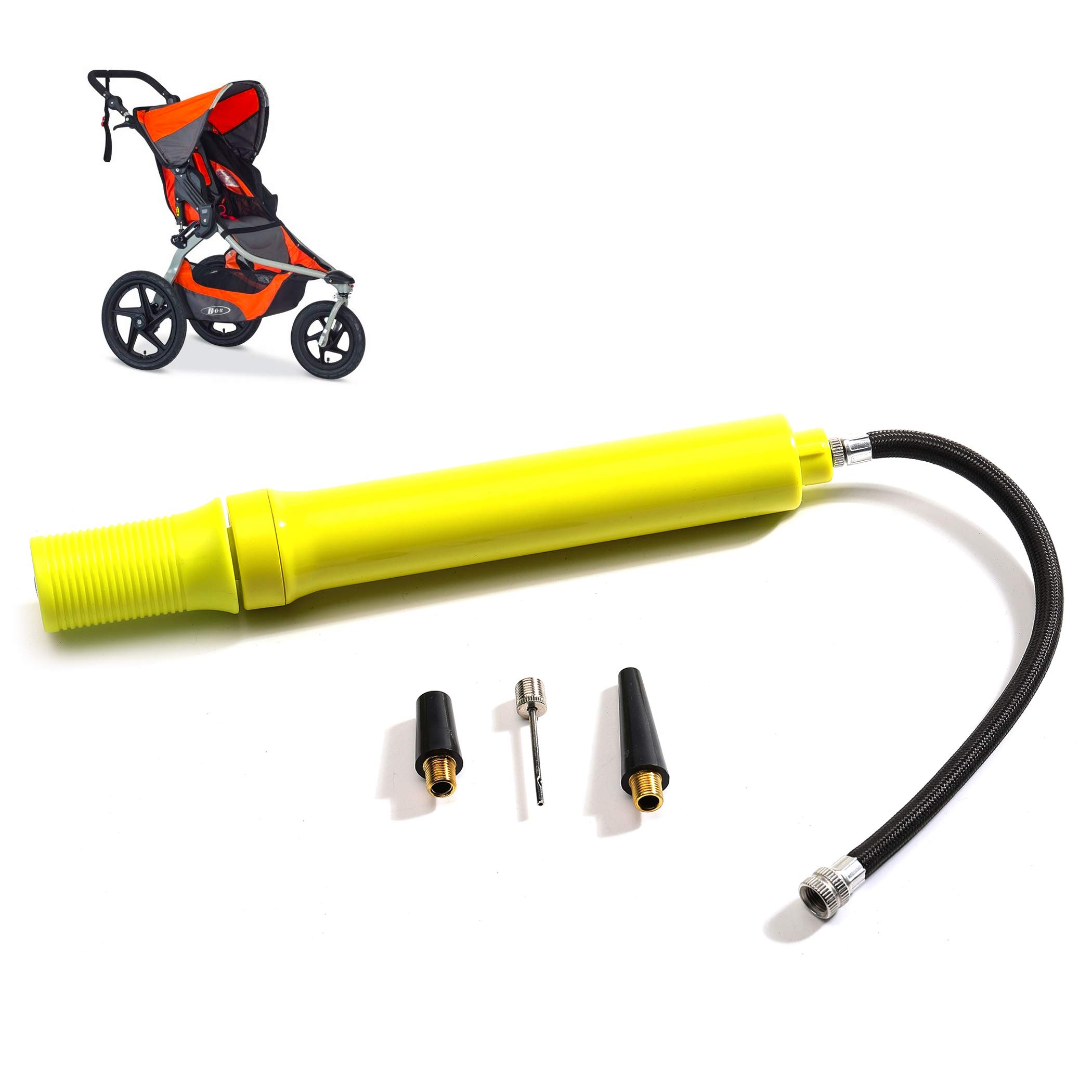 Baby Stroller Tire Pump - with Oversized Pistol Designed That Saves Over 30% Fewer Strokes - Made from CNC Aluminum and Fits All Stroller Tires by CalPalmy