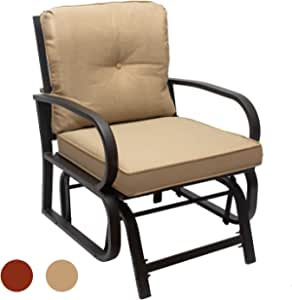 Swing Glider Chair Outdoor Furniture Fabric Glider Rocker Chair W/Study Metal Frame, Single Glider Patio Chair for Porch Garden Lawn Rocking Chair (1PC Brown Cushions)