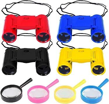 LAOZHOU 4 Pack de prismáticos de plástico para niños de Juguete con 4 Pack de Lupa para los niños Safari Artículos para Fiestas y Regalos para devoluciones de Fiestas (Juego de 8):