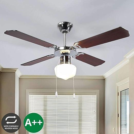 Ventilador de techo con lámpara (Modern) en marrón de madera, etc, para salón & comedor (1 focos, E27, A + +) de lámpara Mundo | Ventilador: Amazon.es: Iluminación