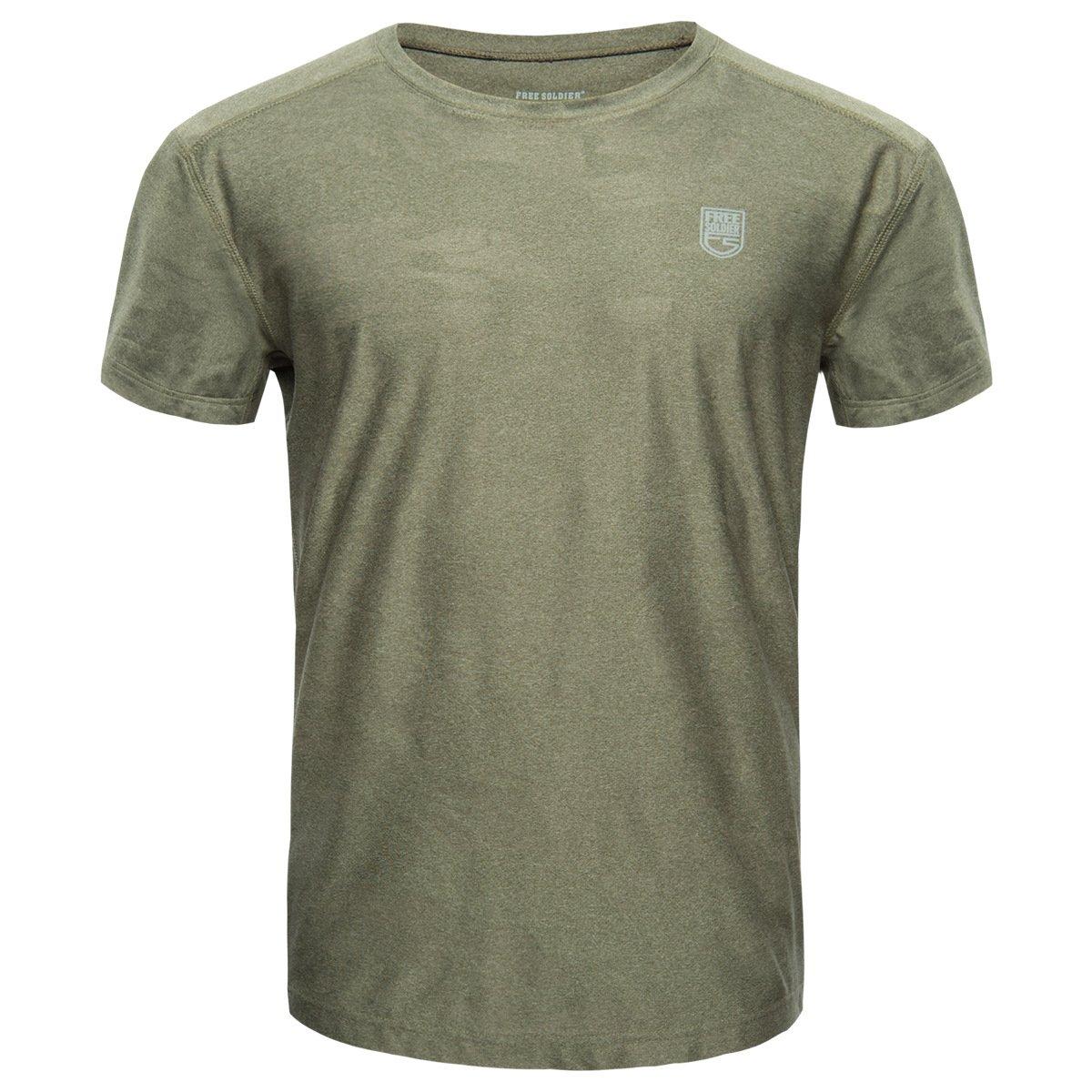 Hombre FREE SOLDIER T/áctico Camiseta Transpirable de Secado R/ápido El/ástico Cuello Redondo Manga Corta Camiseta