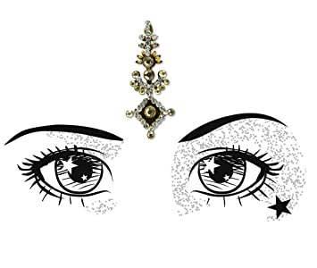 Indian Coloured Deluxe Bindi Pack of 17 Large Gem Tikka Face Jewellery- Face Gem Glitter Festival Party Wedding