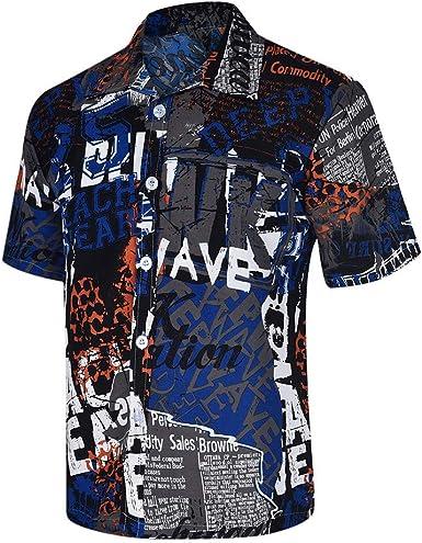 CAOQAO Camisas Hombre Manga Corta Camisa Hawaiana Hombre Casual Cool Tendencia Negro y Azul: Amazon.es: Ropa y accesorios